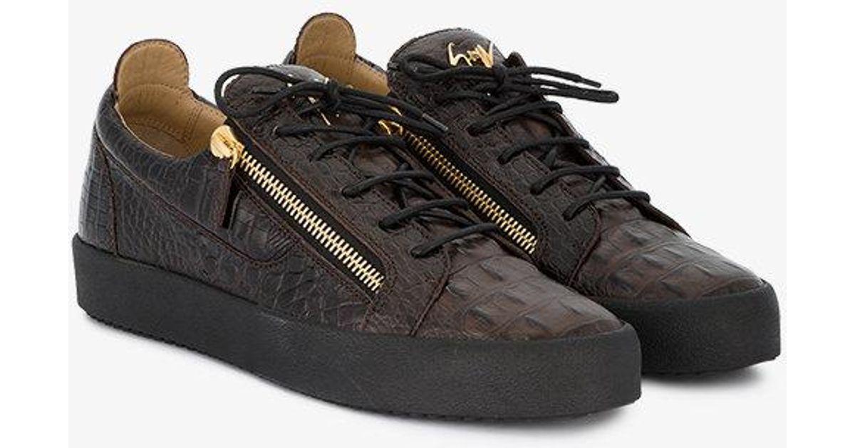 195f3063797be Giuseppe Zanotti Brown Croc Frankie Sneakers in Black for Men - Lyst