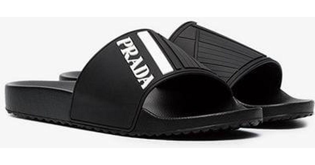 6813cbd43068fe Prada Black And White Logo Embossed Pool Slides in Black for Men - Lyst