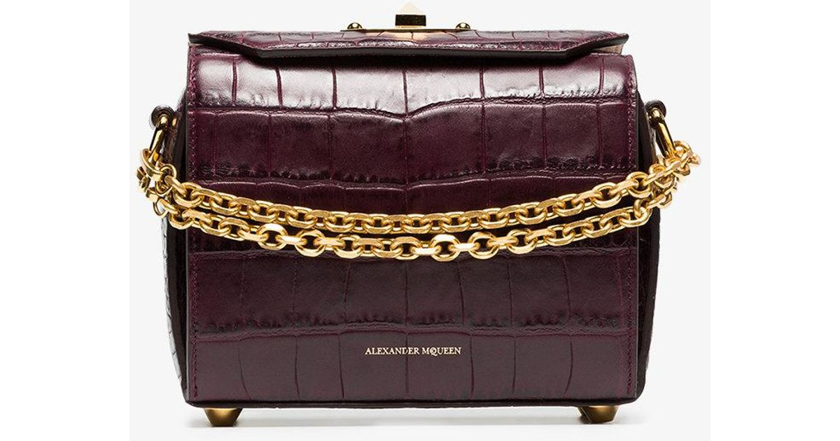dark purple Box 19 crocodile embossed leather bag - Pink & Purple Alexander McQueen 82AjuSF