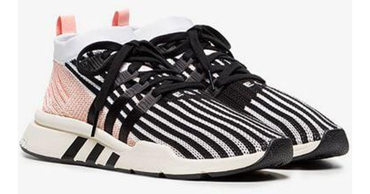 online store f8ac1 83684 ... amazon Lyst - Adidas Pink, Black And White Eqt Support Mid Adv  Primeknit Sneakers in ...