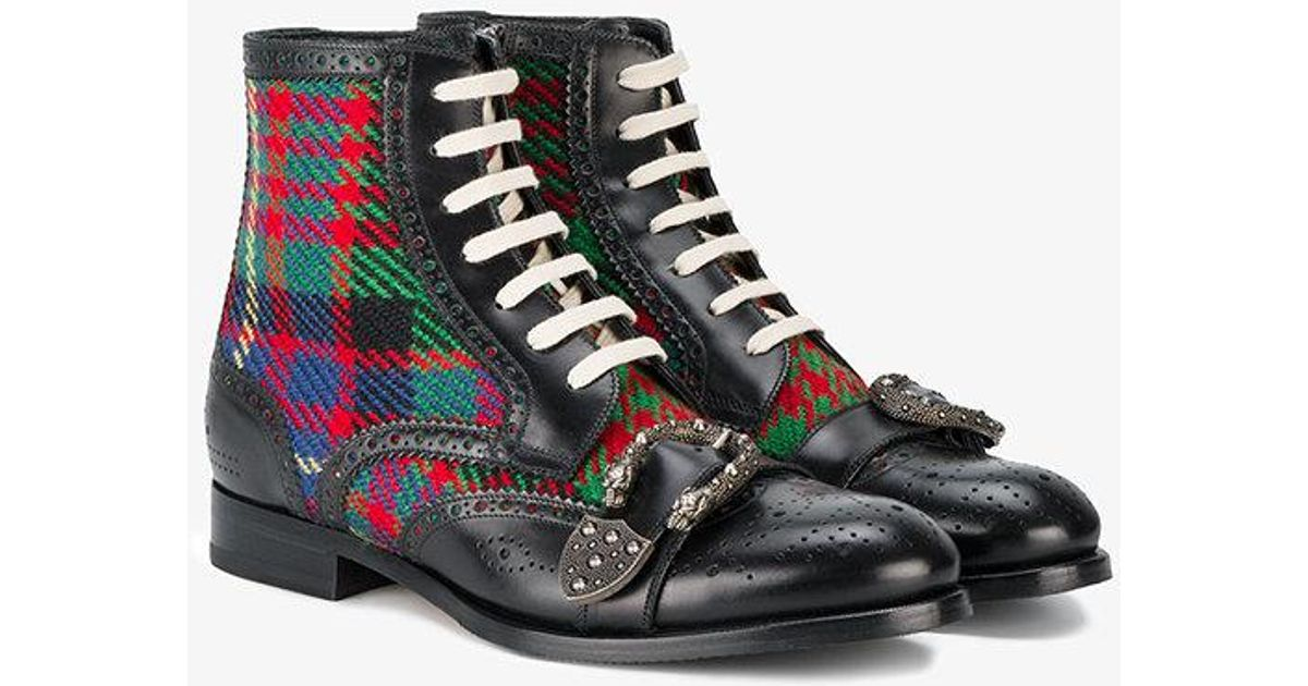 90f8a63fc Gucci Queercore Check Brogue Boots in Black for Men - Lyst