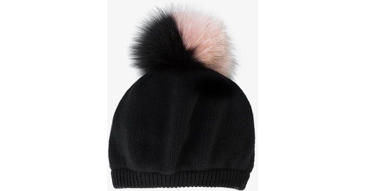 Lyst - Miu Miu Fox Fur Pompom Hat in Black b5a141313c6
