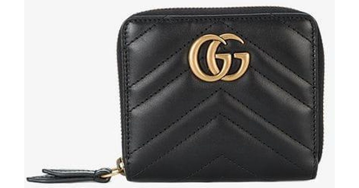 7565f8510a7f73 Lyst - Gucci GG Marmont Matelasse Wallet in Black