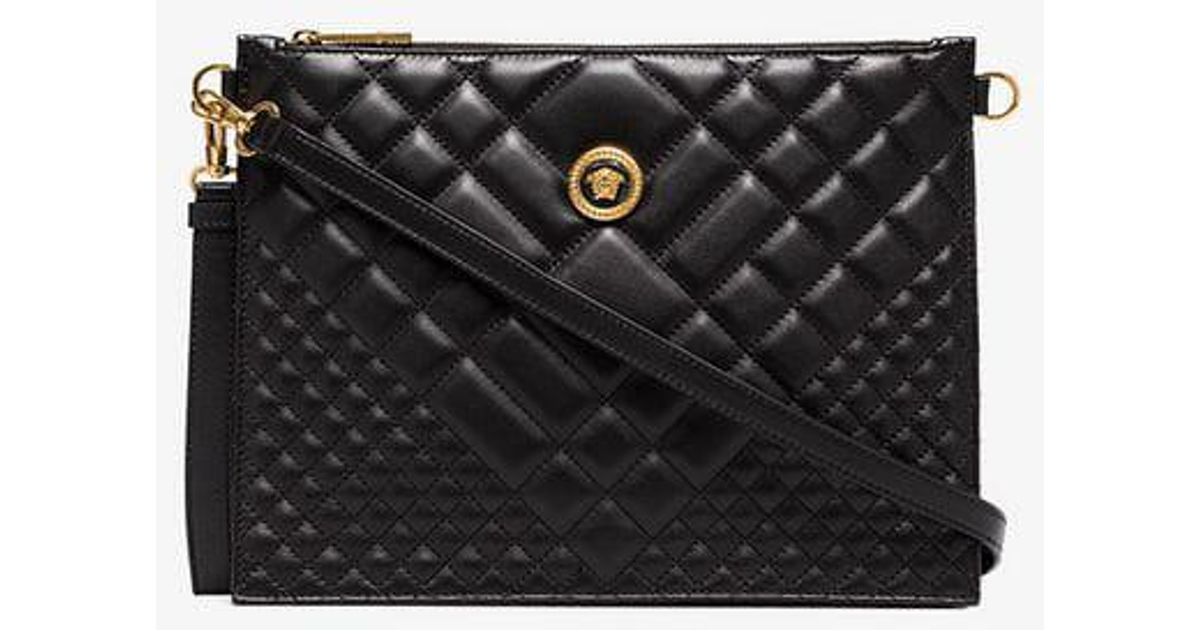 baa2885b8edf Versace Black Medusa Quilted Leather Clutch Bag in Black - Lyst