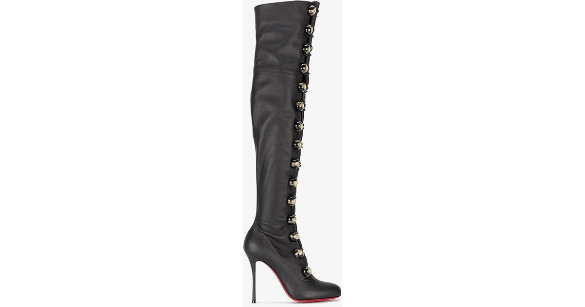 8211ce74d88f Lyst - Christian Louboutin Fabiola 100 Lace-up Thigh-high Boots in Black