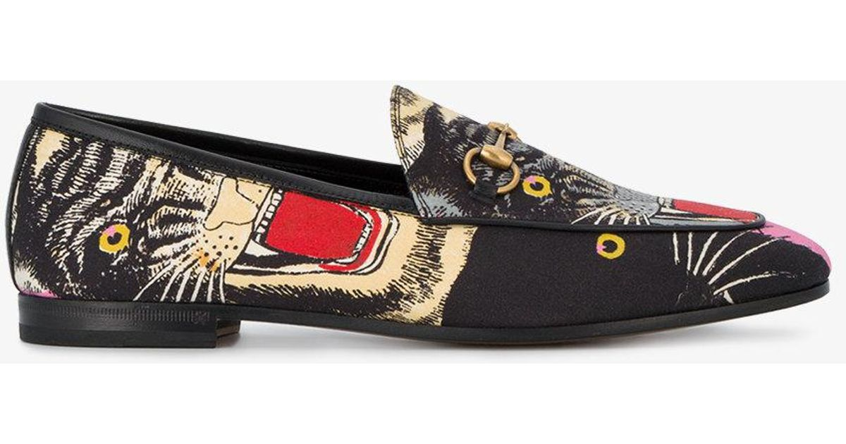 04be6c92e9b Lyst - Gucci Black Angry Cat Print Loafers in Black