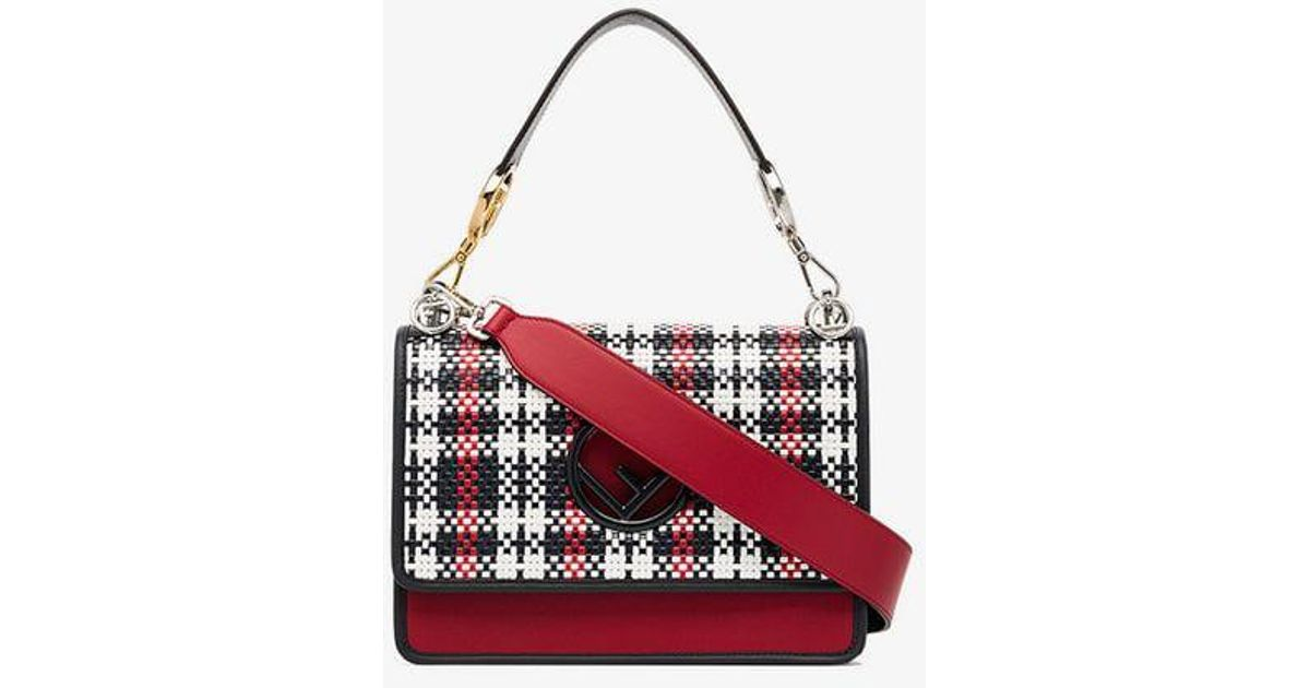 Lyst - Fendi Kan I F Woven Leather Shoulder Bag in White 8264c53b2a787
