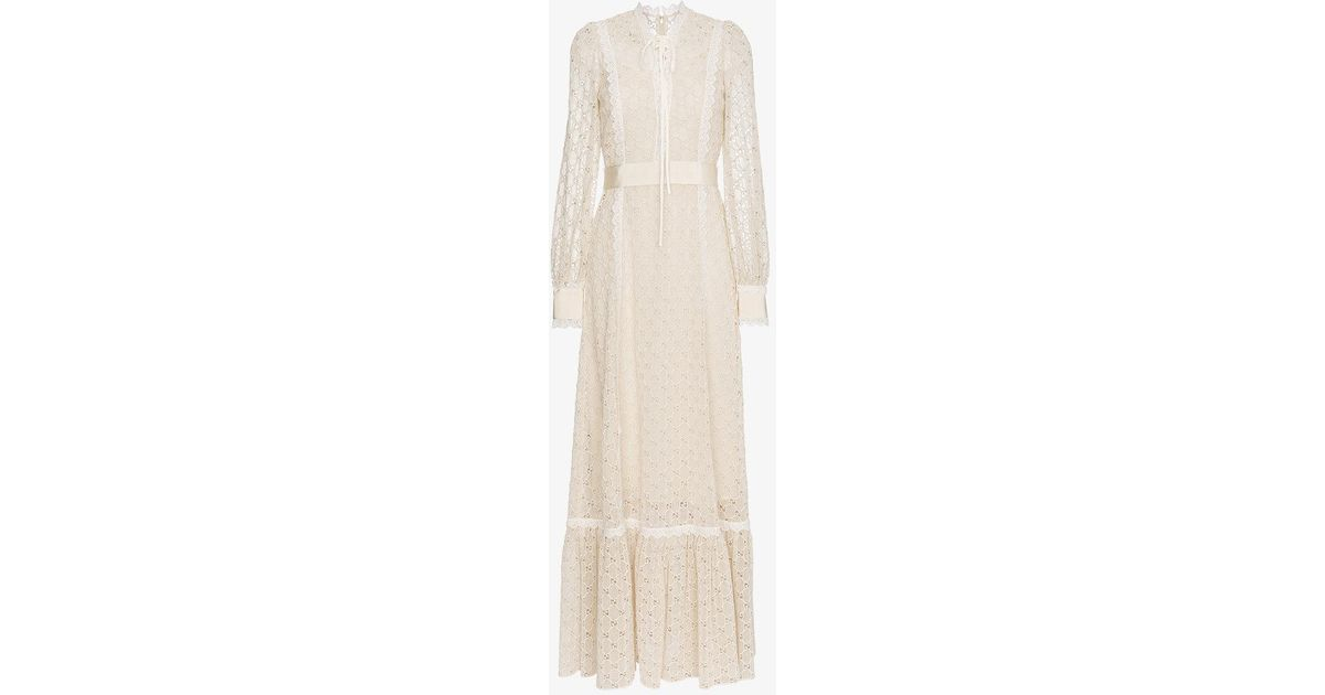 86905b356 Lyst - Gucci Macramé Logo Lace-trimmed Gown in Natural - Save 15%