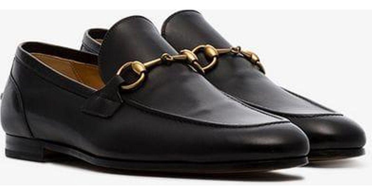 ce5a12915ee Gucci Black Jordan Buckle Embellished Leather Loafers in Black for Men -  Lyst