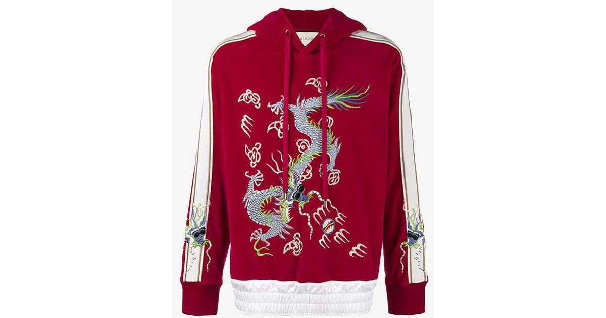 30d4dc2645a Lyst - Gucci Dragon Embroidered Hoodie in Red for Men