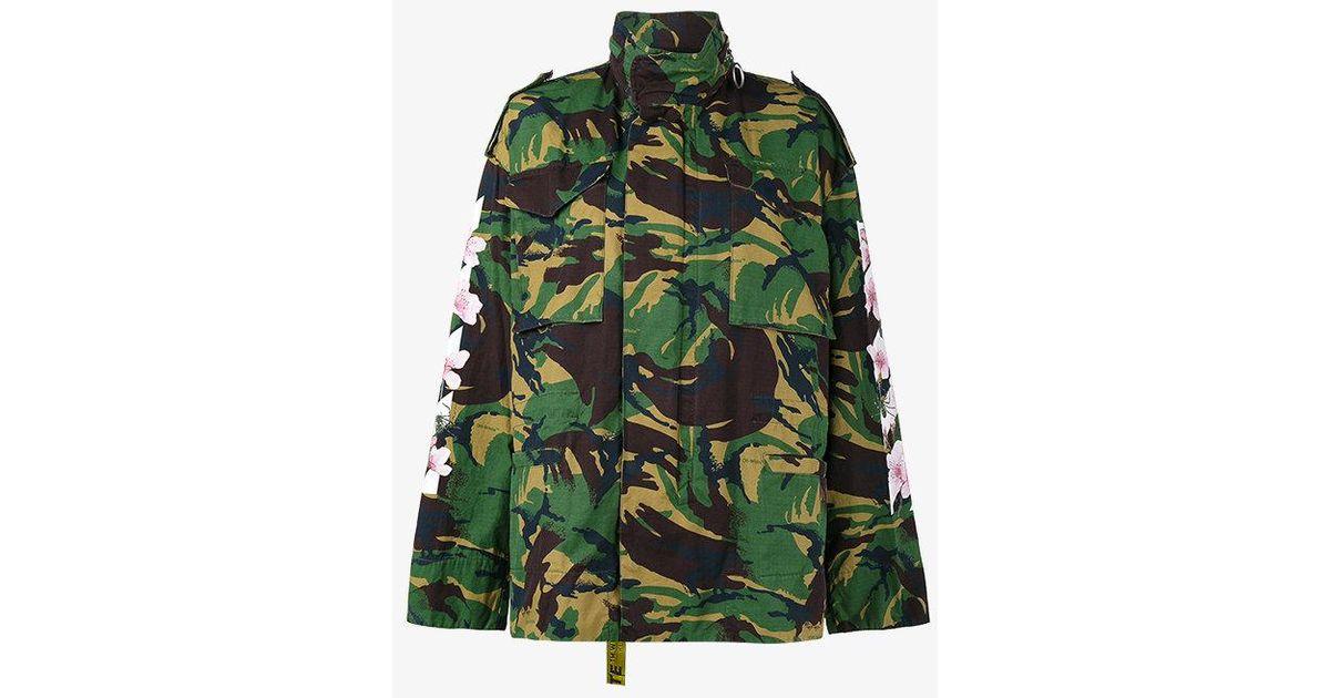 75c7eda4ed622 Off-White c/o Virgil Abloh Camouflage Floral Print Parka Jacket in White -  Lyst