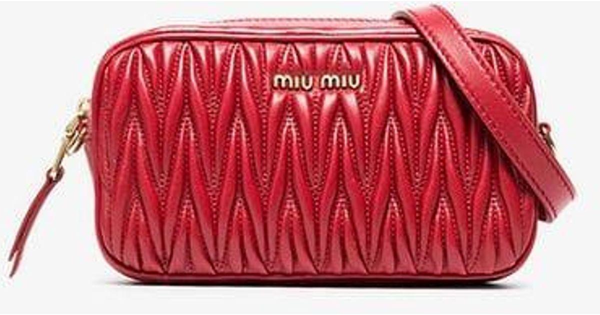 f1fa2ddd038 Lyst - Miu Miu Matelassé Leather Belt Bag in Red