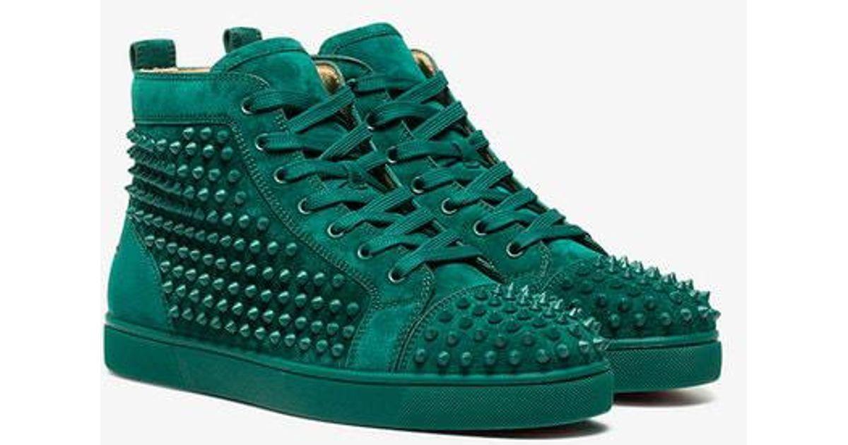 3b11acc1541 Christian Louboutin Green Louis Spike Suede Sneakers in Green for Men - Lyst