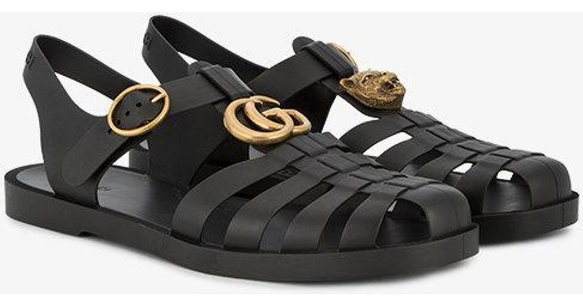 977689812 Gucci Buckle Strap Jelly Sandals in Black for Men - Lyst