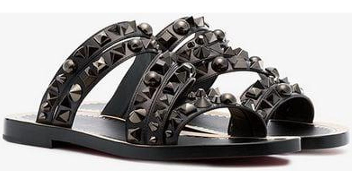 Desertok Leather Louboutin Black Lyst Sandals In Christian HqztOO