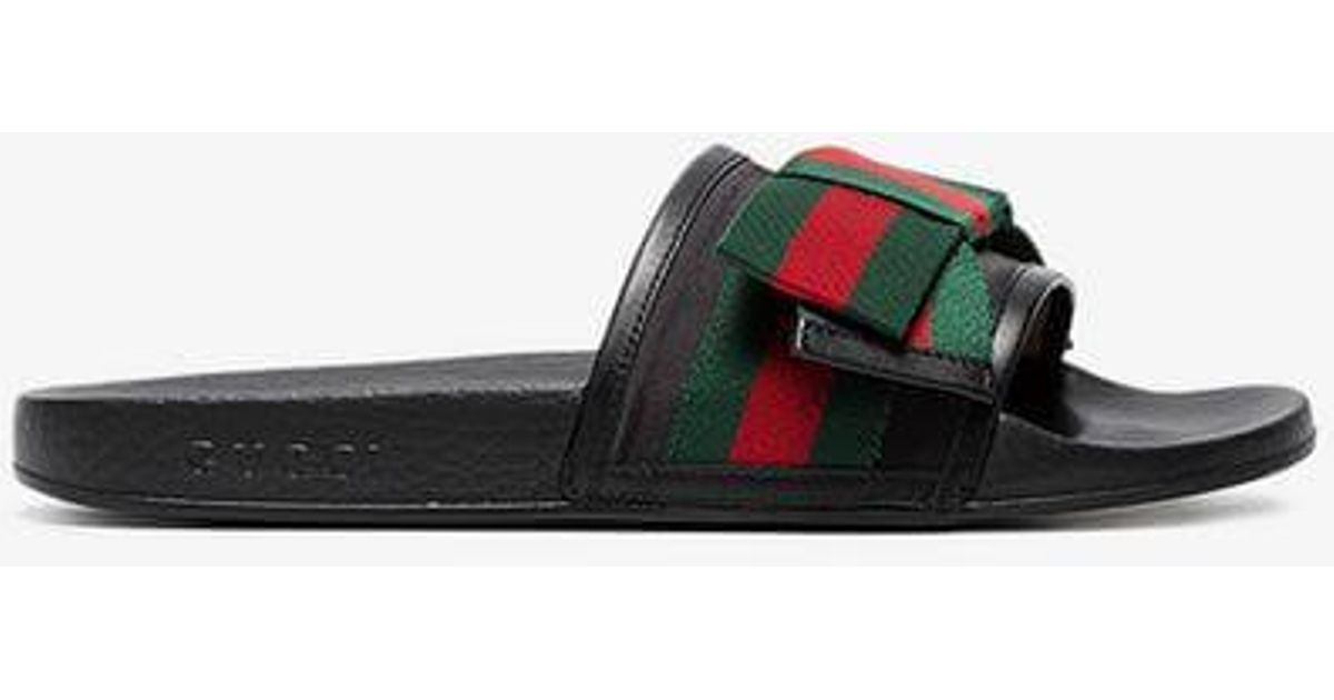 b8a126db040 Lyst - Gucci Satin Slide With Web Bow in Black - Save 62%