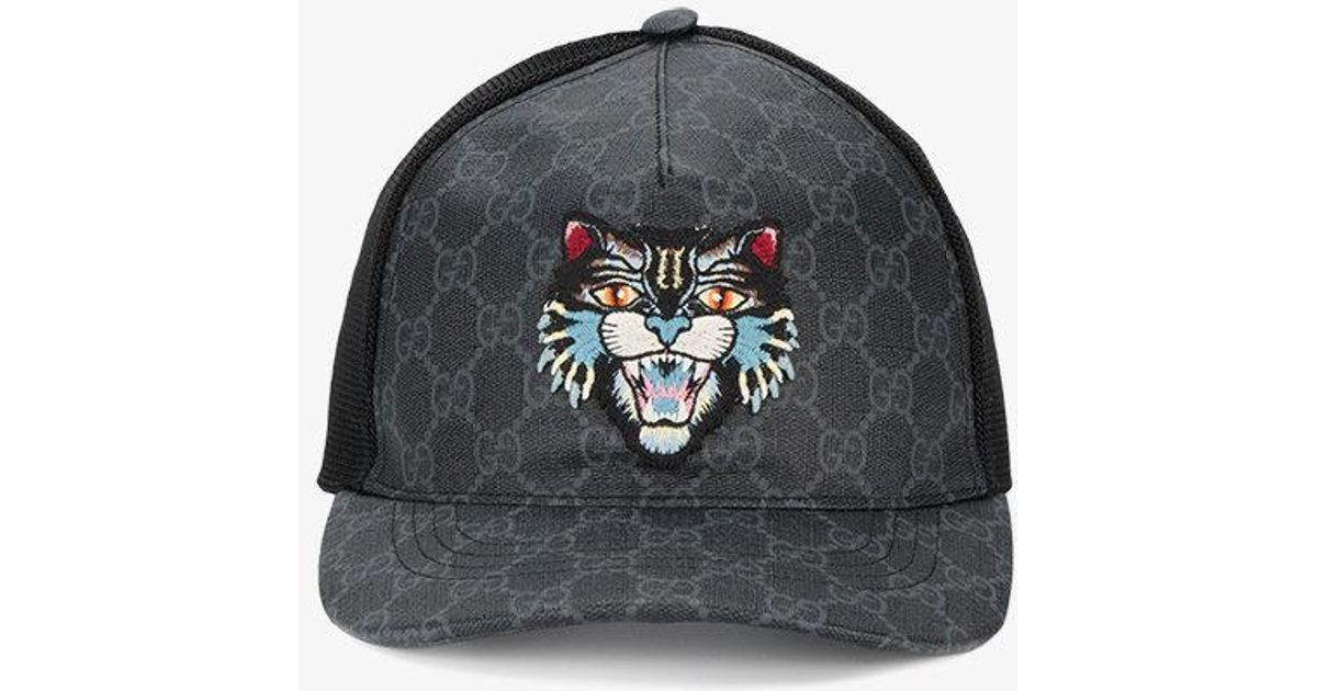 8f71a4e10d0ff Gucci Gg Supreme Angry Cat Baseball Hat in Black for Men - Lyst