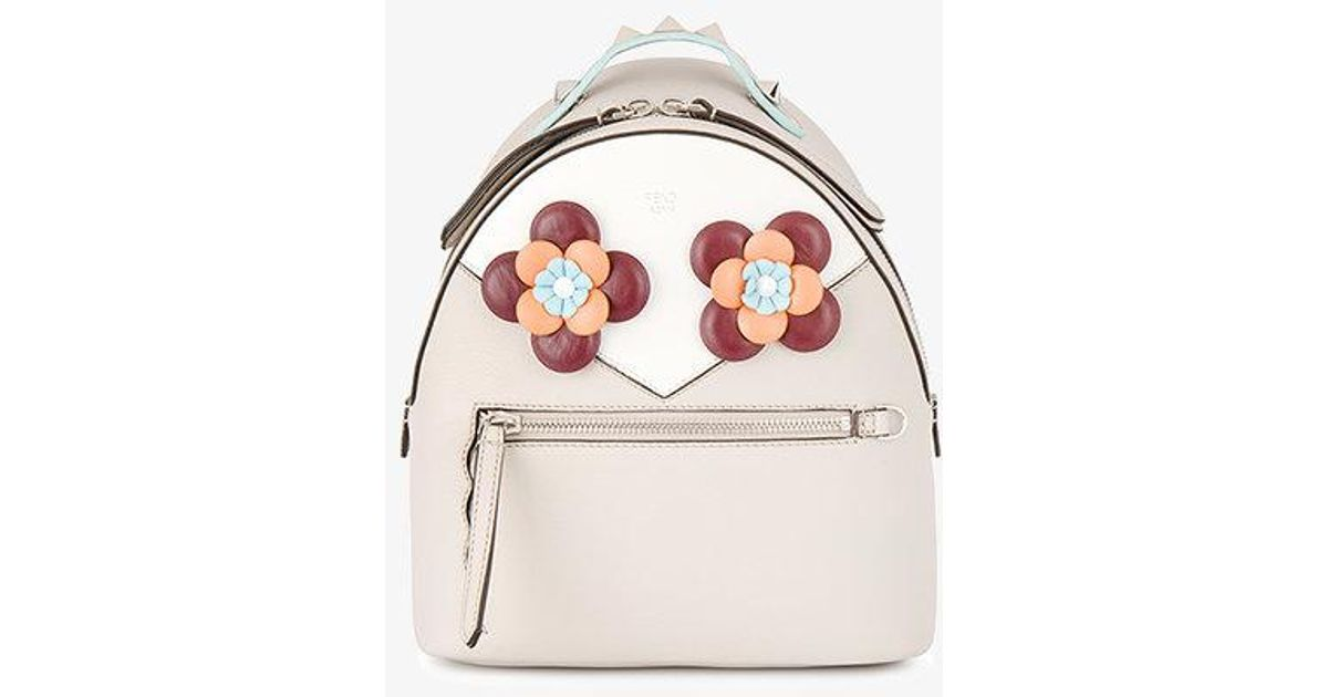 9b07f599473 Fendi Floral Eyes Leather Backpack - Lyst