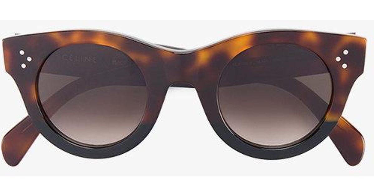 003b75b7932 Céline Tortoiseshell Baby Audrey Sunglasses in Brown - Lyst