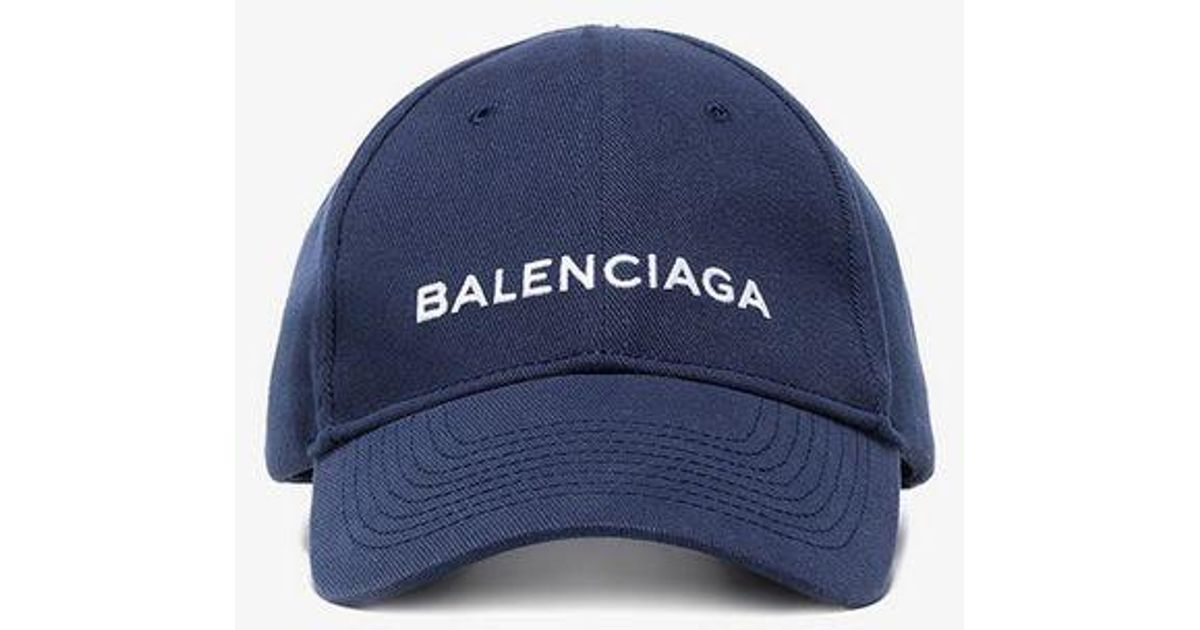 0b58b61e7f5 Balenciaga Navy Logo Baseball Cap in Blue for Men - Lyst