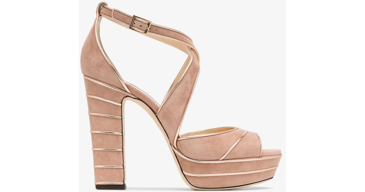 684de00cc37 Jimmy Choo Ballet Pink April 120 Suede Platform Sandals in Pink - Lyst