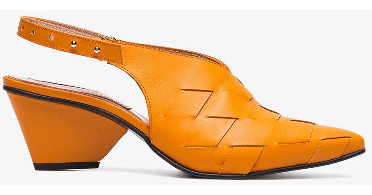 Orange Woven 60 leather slingbacks Reike Nen iN3VkHSYk