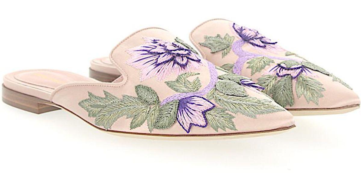 Alberta Ferretti Clogs MIA satin Embroidery Flower pattern QOIHoAkQ