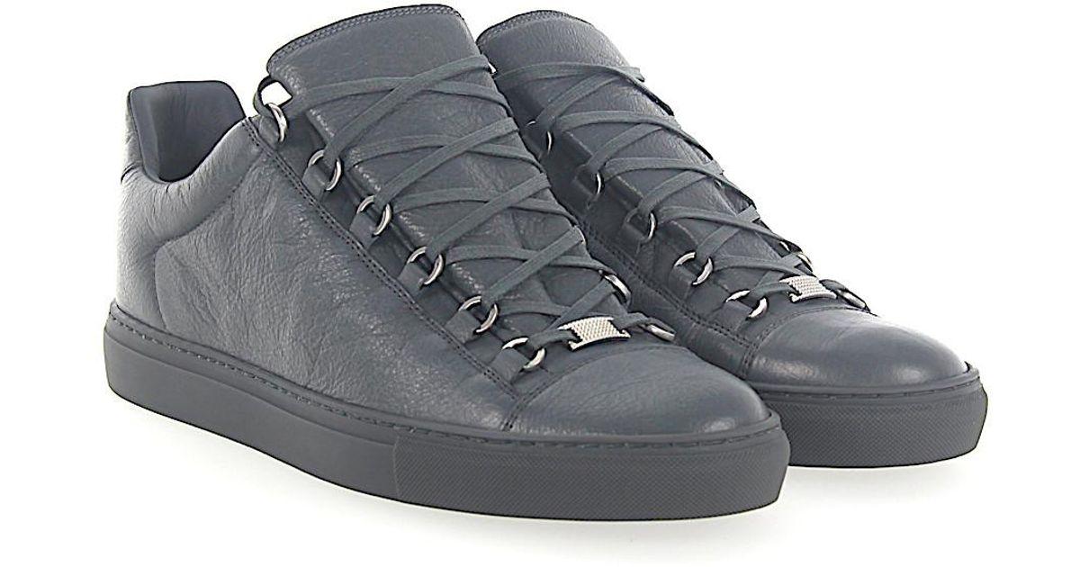 5393544de5c84 Lyst - Balenciaga Sneaker Arena Low Leder Grau Crinkled in Gray for Men