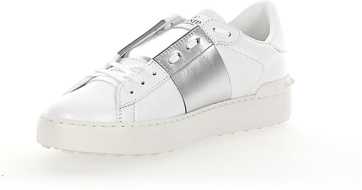 832ce924347c Lyst - Valentino Sneakers Open Leather White Stripes Silver Metallic in  White