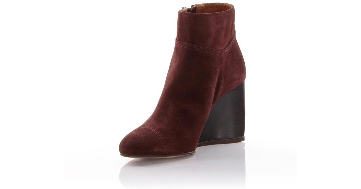 Lanvin Wedge Ankle Boots suede claret zatYwi