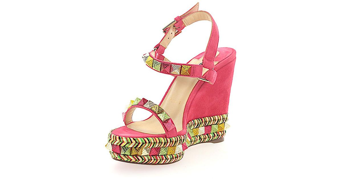 77183a164d6d ... germany lyst christian louboutin wedge sandalen pyraclou 110  veloursleder pink spikes mehrfarbig in pink 6f42a e2199