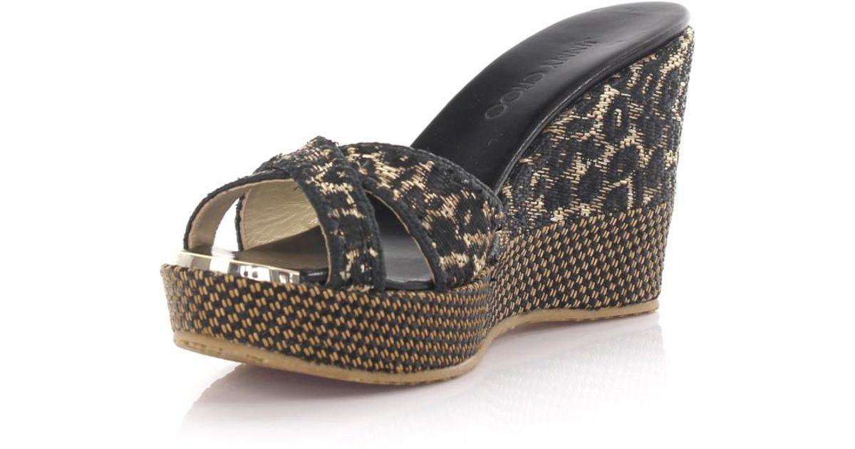 Jimmy choo Wedge sandals 949TXBkxf6 plateau woven bast leopard print McHs2xvNQZ