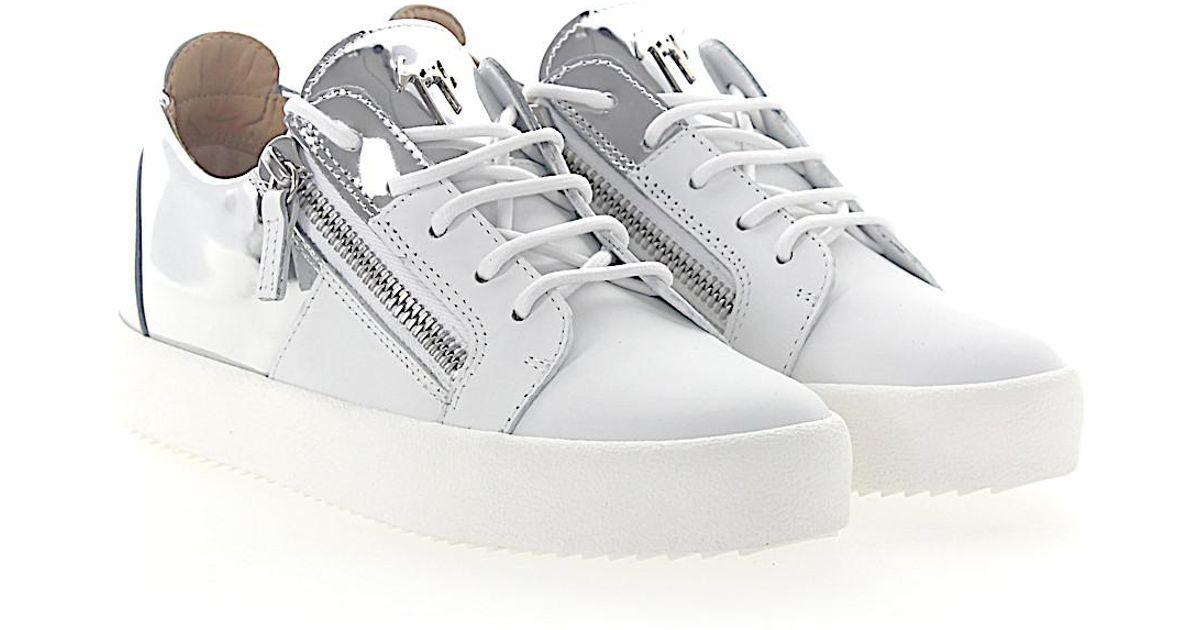 Sneaker MAY Glattleder Metallisch silber wei? Giuseppe Zanotti Z5snt9fHc
