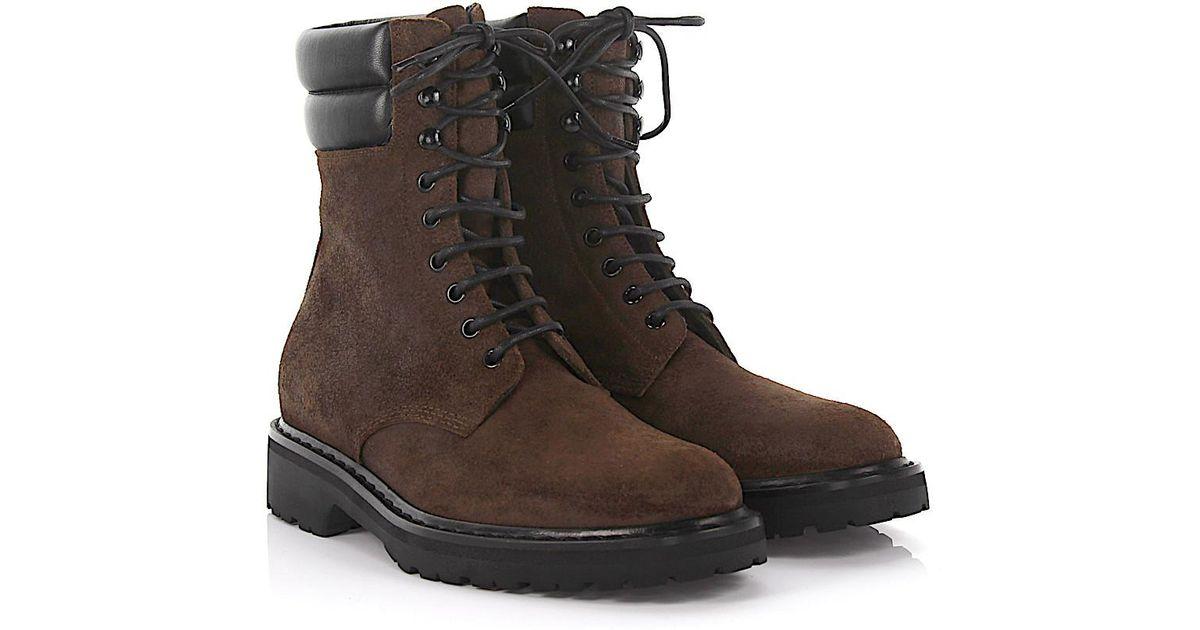 Saint Laurent Boots Trekker 25 Pad Top suede finished leather black oOL8SWAjhc