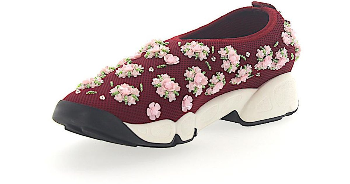 Dior Sneakers Slip On FUSION Mesh bordeaux crystal embroidery DvGoSq6
