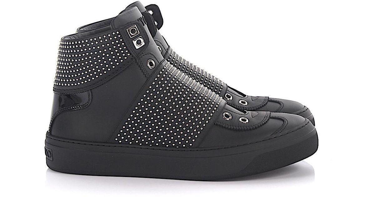 Sneaker high slip on Archie leather patent leather black studs Jimmy Choo London NenHx2v