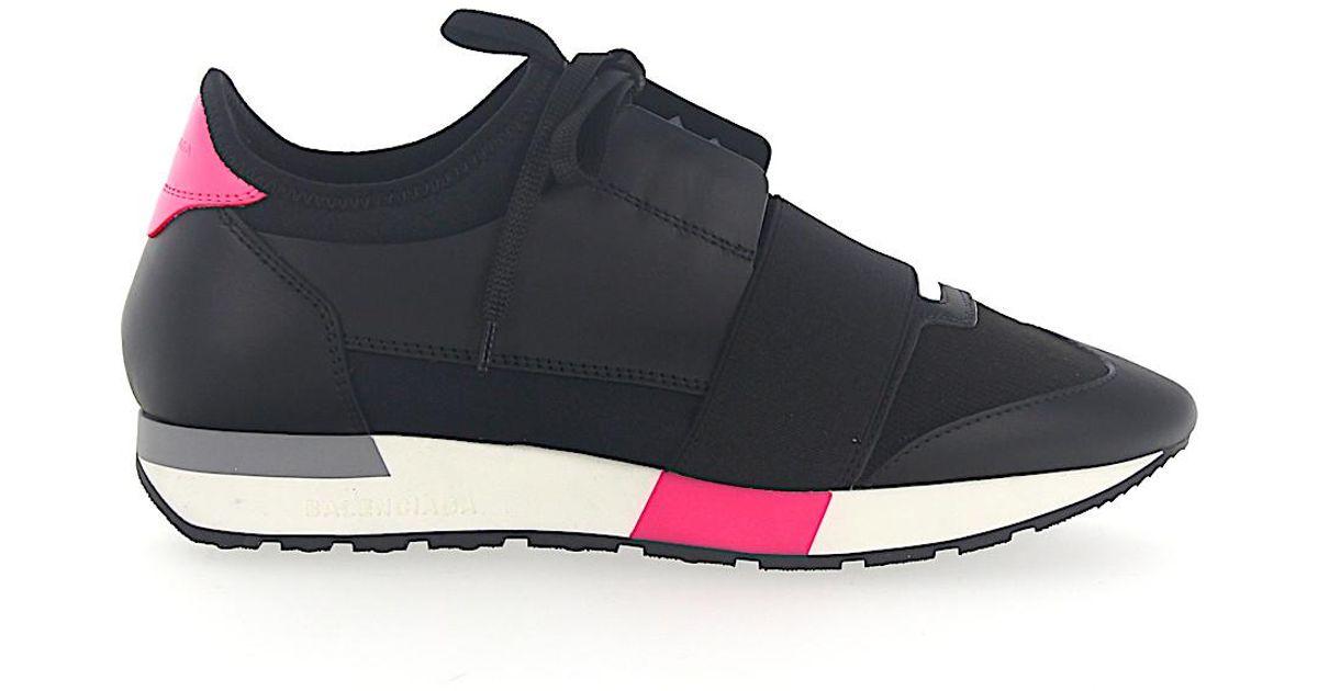e296a93cf07a Lyst - Balenciaga Sneakers Race Runner Calfskin Mesh Logo Black Pink in Pink
