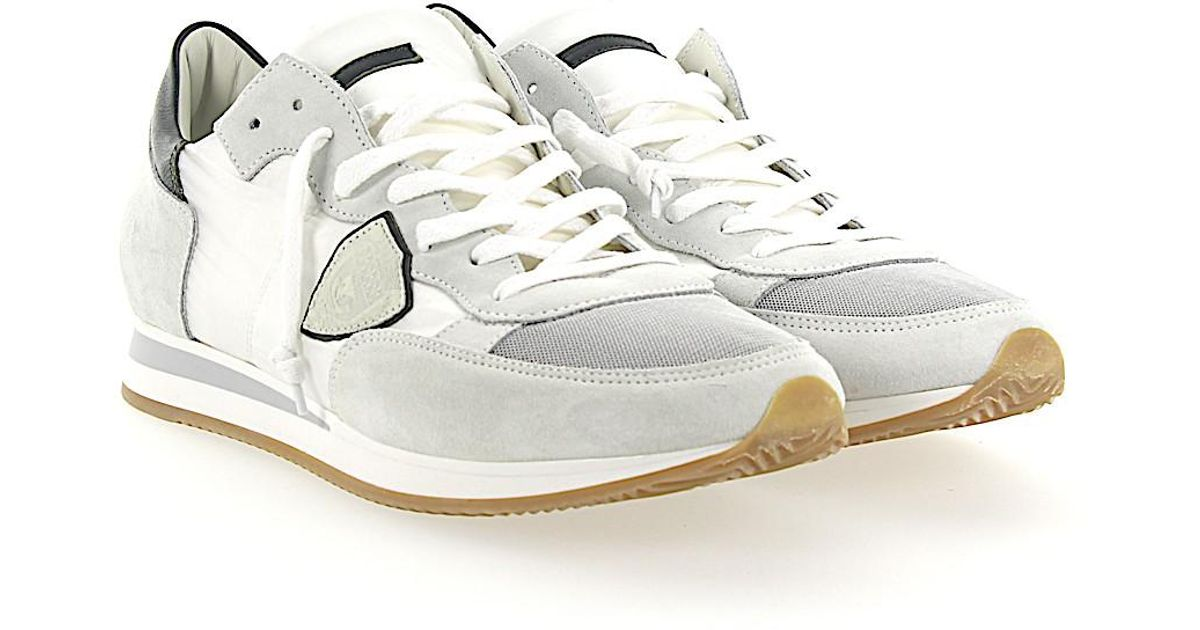 Sneakers TROPEZ suede nylon white mesh grey Philippe Model UDXl2NhD