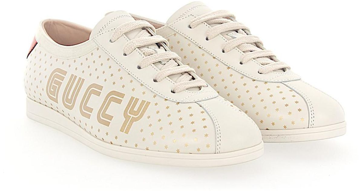 Gucci Sneakers 0G270 calfskin Embroidery Logo Metallic print gold red 0YIzrPH