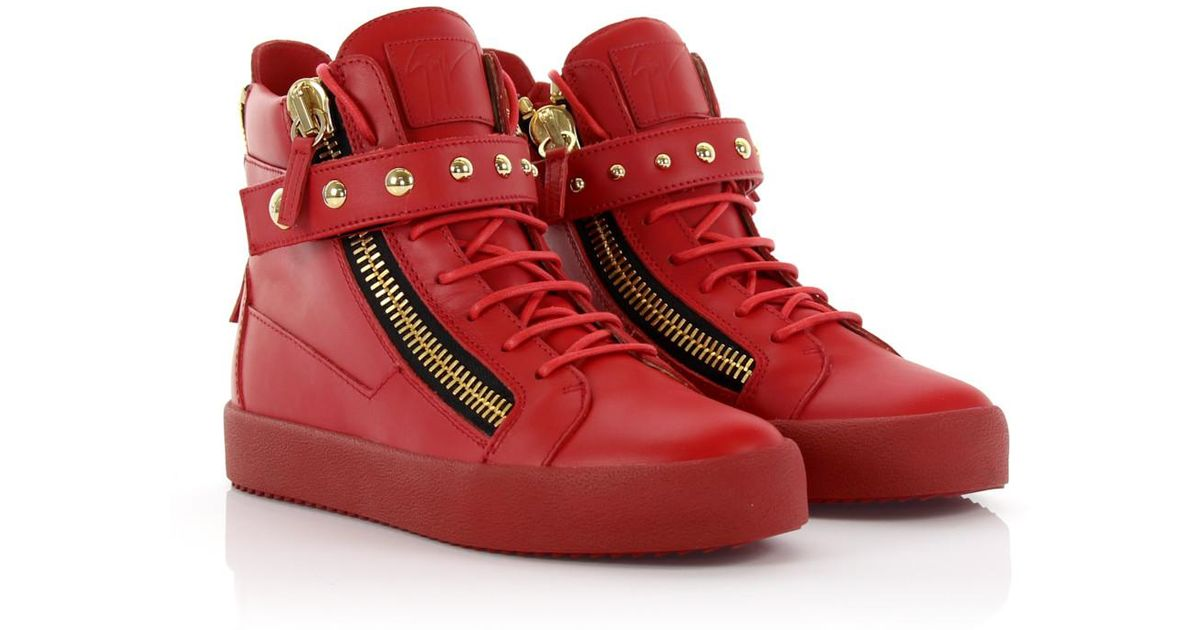 69af5de9a13 Giuseppe Zanotti Sneakers High May London Leather Red in Red for Men - Lyst