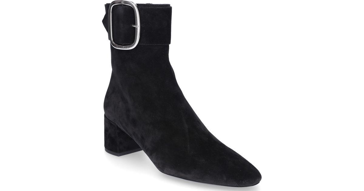 15ab5c4ce5d Lyst - Saint Laurent Ankle Boots 0li00 Suede Clamp-buckle Black in Black