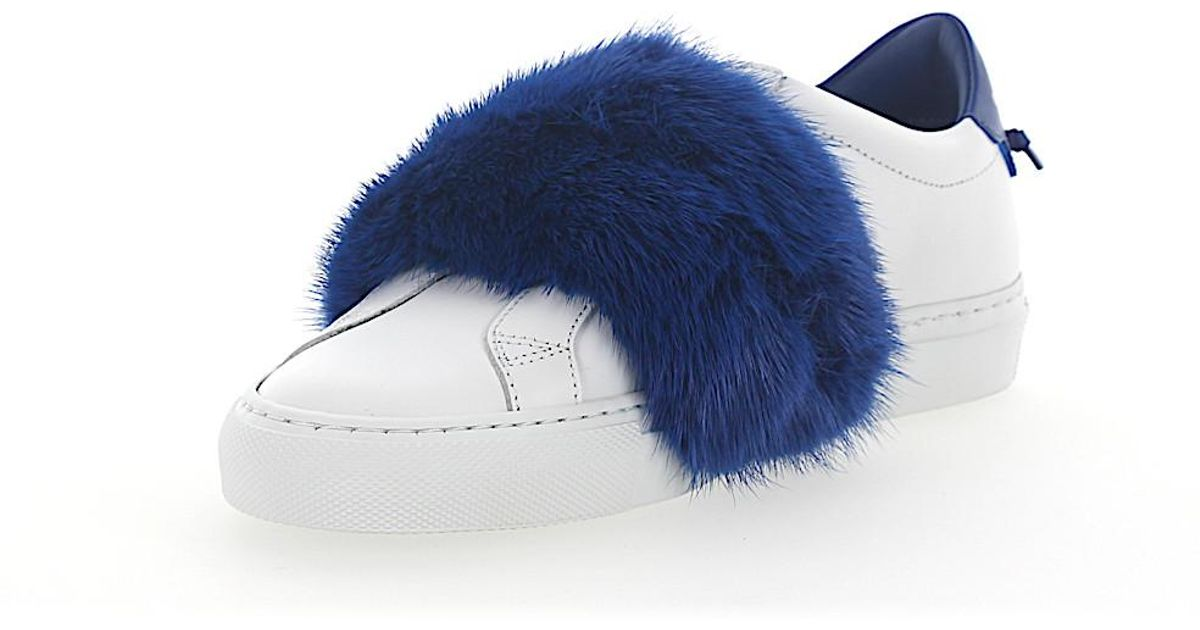 Slip-On Sneakers leather white mink fur blue Givenchy seae2e04LI