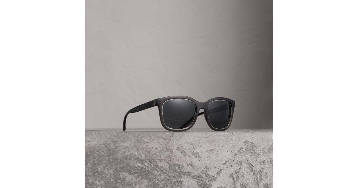 07ef8f86185 Lyst - Burberry Embossed Check Detail Square Frame Sunglasses in Gray for  Men