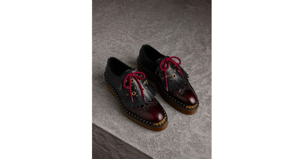 16fd5d06654 Lyst - Burberry Lace-up Kiltie Fringe Riveted Leather Shoes in Black