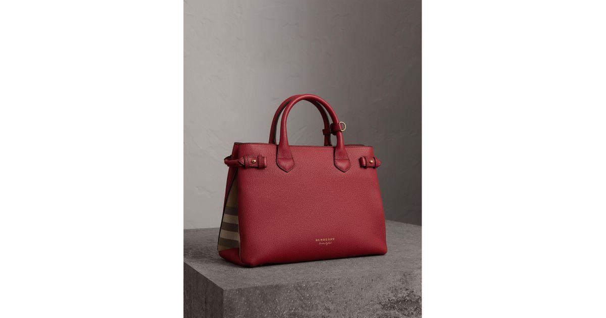 Medium Banner Bag in Russet Red Metallic Calfskin Burberry z4W40