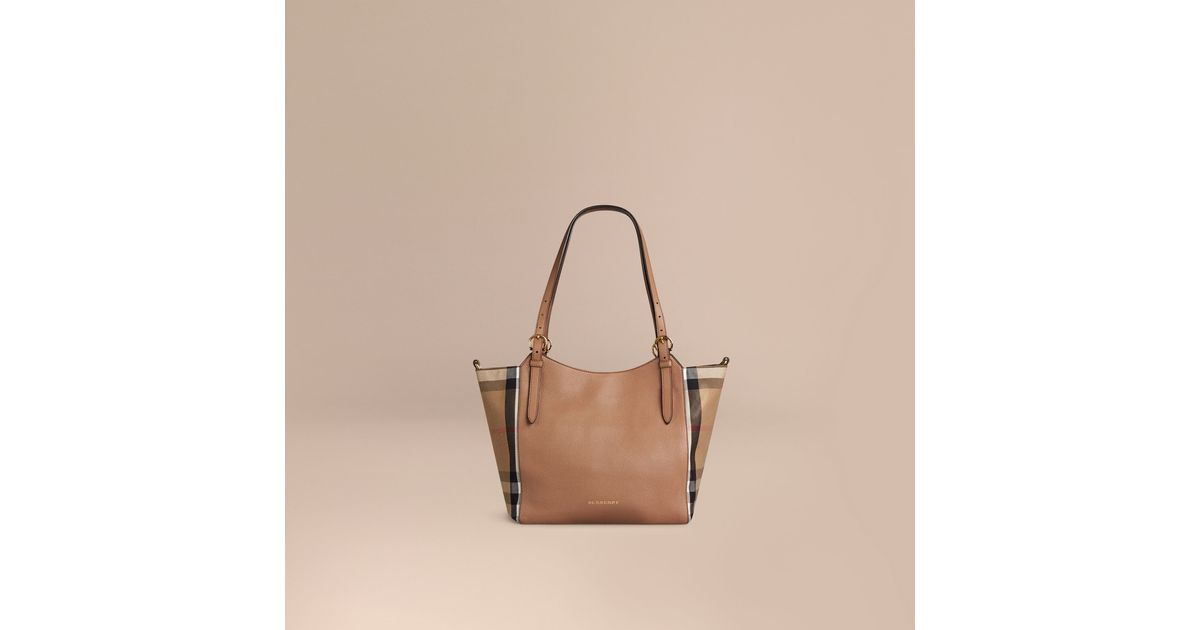 Lyst - Burberry The Small Canter In Leather And House Check Dark Sand in  Natural 4cd91eced7b3b