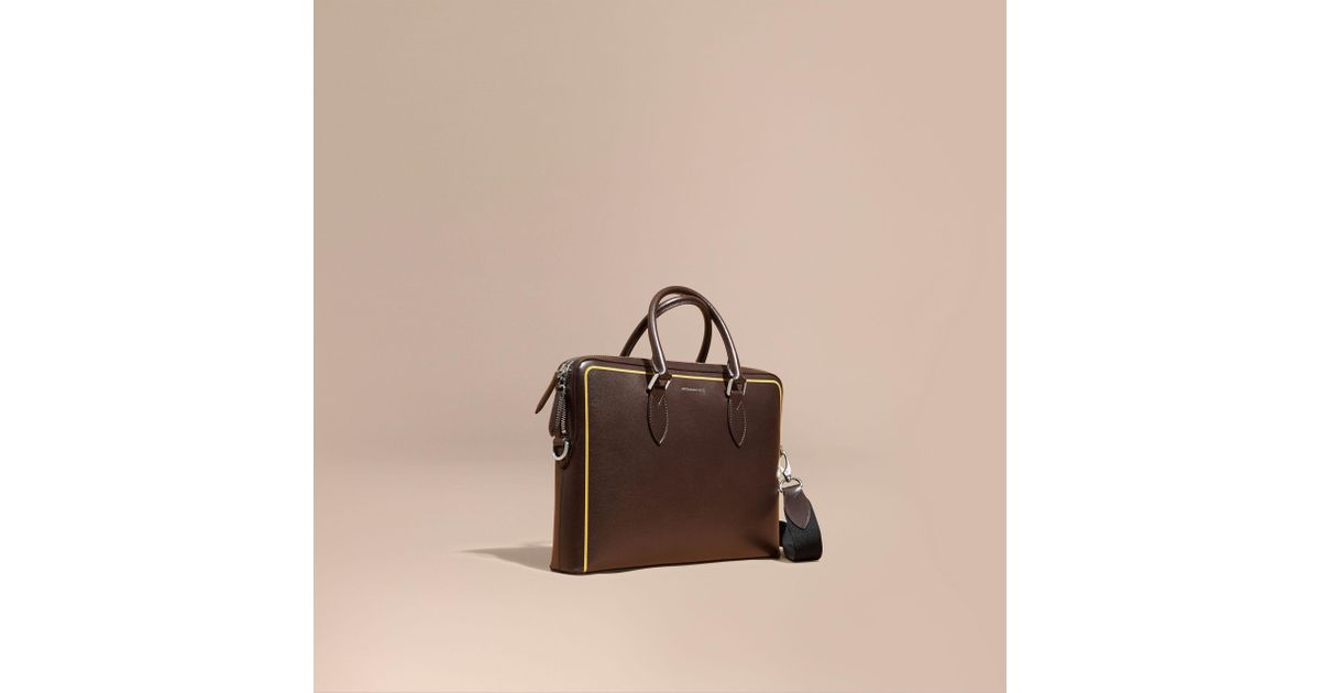 d543693c64172 Lyst - Burberry The Slim Barrow Bag In London Leather With Border Detail  Peppercorn for Men