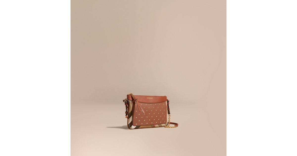 Lyst - Burberry Riveted Leather And House Check Clutch Bag Tan 73debcb038