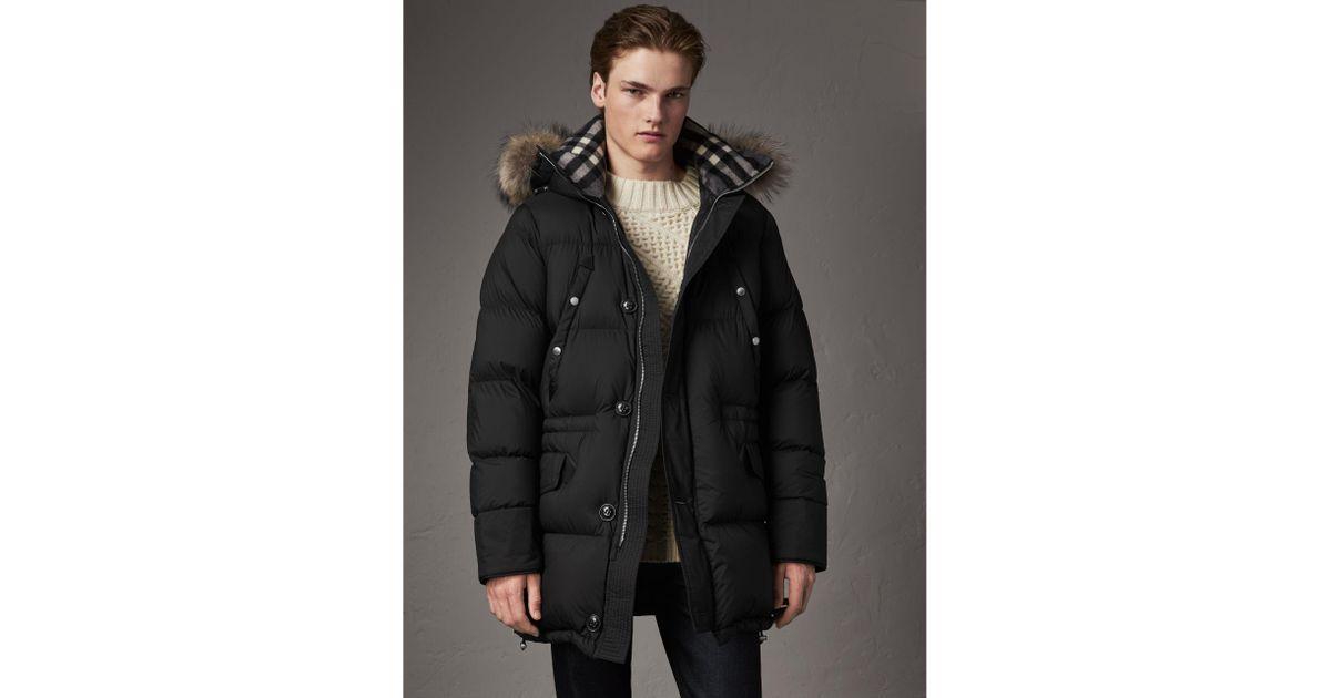 3958f4b54bf1 Lyst - Burberry Detachable Raccoon Fur Trim Hood Down-filled Parka ...