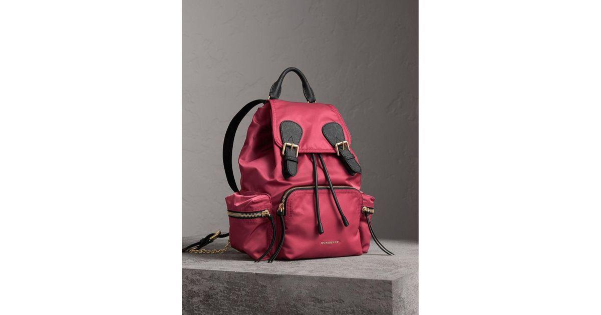 49d627e2f9d5 Lyst - Burberry The Medium Rucksack In Technical Nylon And Leather Plum Pink  in Pink